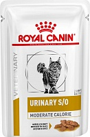 Royal Canin Veterinary Diet Pouch Urinary S/O Moderate Calorie Feline с курицей в соусе, 85 гр