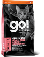 GO! Cat Solutions Carnivore All Life Stages Grain Free с лососем и треской