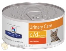Hill's Prescription Diet c/d Multicare Feline фарш с курицей, 156 гр