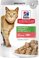 Hill's Science Plan Pouch Senior Vitality для кошек старше 7 лет с лососем, 85 гр